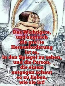 Die Person im Spiegel zu lieben